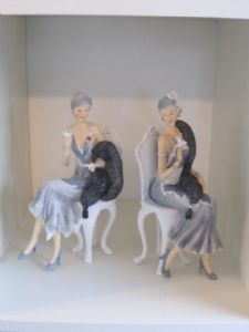 Elegant 1920's Charleston ladies Figurine dressed in grey/silver Sat on a Chair. 45333